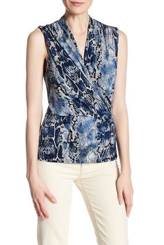 Image of Laundry By Shelli Segal Snake Printed Sleeveless Matte Jersey