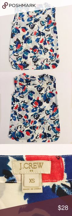 """J. Crew floral draped sleeveless blouse J. Crew Factory floral draped sleeveless top. Approx measurements laying flat: chest - 18"""", length - 26"""". One very small run on front of shirt (see pic); otherwise excellent condition. J. Crew Factory Tops Blouses"""