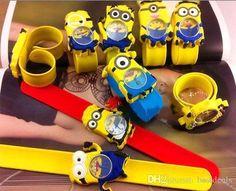 New Silikon Klaps Jungen Mädchen Armbanduhr 2 Despicable Me Minion Kids Gelb Uhr Kinder 3d Cartoon Uhren