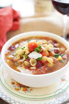 Minestrone Soup For One - this hearty Italian soup is filled with vegetables, beans, bacon and pasta. It's a flexible single-serving recipe that can be made with any number of your favorite vegetables and ingredients. | www.zagleft.com
