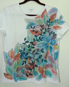 Hand Painted Leaves & Flowers Embellished Women's by heartbridge, $25.00