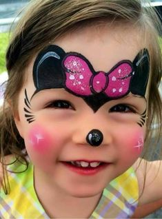Simple face painting designs are not hard. Many people think that in order to have a great face painting creation, they have to use complex designs, rather then Minnie Mouse Face Painting, Disney Face Painting, Girl Face Painting, Painting For Kids, Body Painting, Mini Mouse Face Paint, Simple Face Painting, Face Paintings, Superhero Face Painting
