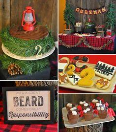 Little Lumberjack themed 2nd birthday party with SUCH CUTE IDEAS via Kara's Party Ideas Kara Allen KarasPartyIdeas.com #lumberjackparty #cam...