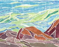 white line woodcut   white-line woodcut print of a gathe ring wave on the coast of Maine ...