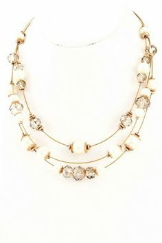 Acrylic pearl three layer necklace. #salediem #jewelry #gold #accessories