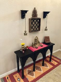Our sturdy, striking console table is crafted entirely by hand in India. Kitchen Room Design, Small Room Design, Home Room Design, Home Interior Design, Indian Home Design, Indian Home Interior, India Home Decor, Pooja Room Door Design, Decor Home Living Room