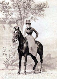 Famous actress Sarah Bernhardt in riding costume. victorian sarah bernhardt riding costume horse riding 1880s