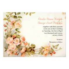 intage romantic painting of roses wedding     Vintage romantic painting of roses wedding invitation that features a bunch of English rose flowers in pink, peach and coral with green leaves. This elegant and romantic nature inspired floral design is based on a vintage fine art painting and carries a feel of the English romance and elegance. It is a customizable template perfect for a spring or summer garden wedding. #Wedding #Handfasting #Invitation #EnglishRoses #PinkRoses #Floral #Romantic