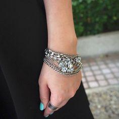 Antique Silver Crystal Bracelet #UsTrendy www.ustrendy.com