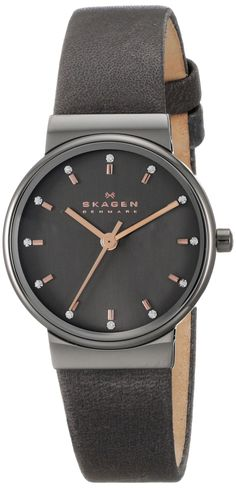 AmazonSmile: Skagen Women's SKW2194 Ancher Gunmetal-Tone Stainless Steel Watch with Black Leather Strap: Clothing