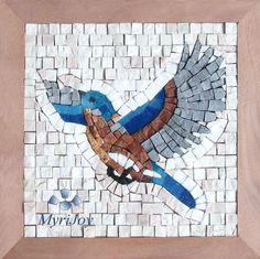 """MOSAIC tile kit for adults DIY: Take flight 9"""" x 9"""" - Mini mosaic handmade wall art - Hobby craft kits for adults. In the different cultures birds are viewed as a symbol of freedom, eternal or renewed life. In Feng Shui birds are considered powerful symbols of new opportunity and regarded as lucky signs of good fortune.This DIY mosaic kit is an original gift idea that allows you to express your creativity and give yourself or your loved ones a gift that could become an inspiring addition…"""