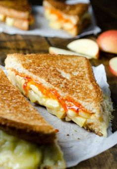 GRILLED CHEESE AND APPLE SANDWICH WITH SRIRACHA BUTTER Hey, don't knock it before you try it! Stuff with your favorite cheese, add a few apple slices and chili flakes, and enjoy your ooey-gooey, spicy 'wich.