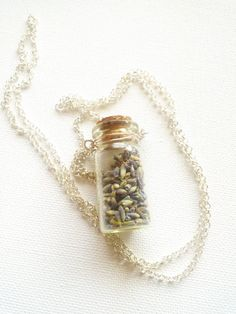 French dried lavender in a tiny bottle necklace by CreatedbyMonika, £12.00