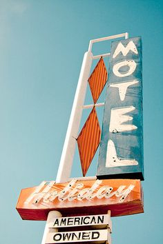 Holiday Motel in Denver, Colorado. Vintage Neon Motel Sign Neon Sky Blue by studioMphotodesign