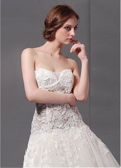 Junoesque Lace & Satin & Tulle with Beaded Lace Appliques A-line Strapless Neckline Dropped Waist Bridal Dress #Dressilyme