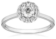GIA-Certified 14k White Gold Diamond Halo Ring (3/4 cttw G-H Color SI1-SI2 Clarity)...