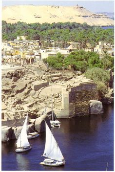 Aswan, Egypt Pharaohs port of ships and warehouses in the Nile island