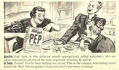 Kellogg's Pep Cereal.  These ladies are TOO peppy. There must be more in this cereal than vitamins.