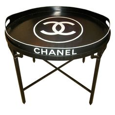 Fabulous And Chic Chanel Tole Tray Table - Chanel Paris - Ideas of Chanel Paris - Chanel logo tray top table used in the late Paris Chanel boutiques. Mademoiselle Coco Chanel, Chanel Decor, Chanel Boutique, Chanel Logo, Chanel Paris, Decoration, Home Accessories, Black And White, Chic