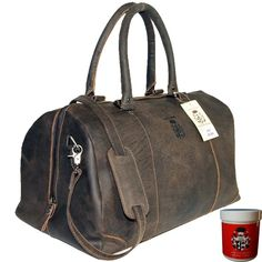 Girl Scout Travel bag - Sports bag LONDON of brown buffalo leather - leather care included Mens Travel Bag, Travel Bags, Weekender, Best Handbags, Amazon Price, Best Brand, Leather Bag, London Brown, Shoulder Bag