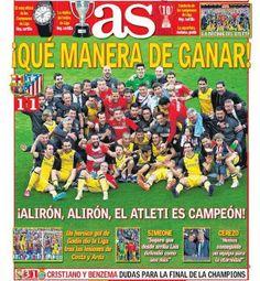 Portada As: Atlético Madrid Campeón Liga Española 2014 At Madrid, Science Nature, Comic Books, Comics, Life, Mayo, Football, Football Team, Soccer