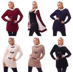 MAXI CARDIGAN FELPATO lungo donna con cappuccio maglione vari colori fashion | eBay
