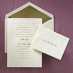 Wedding invitation idea for bride on a budget that wants an elegant look of gold use a simple ecru invitation card with gold ink!