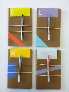 Personalized notebooks...Decorate with painter's tape or washi tape, add rubber bands (can you get fancy ones? maybe hair bands would work), tuck in a small pen (so there's always one handy).