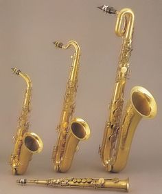 Quartet of saxophones by Adolphe Sax, Paris - front: soprano; left: alto; middle: tenor; right: baritone.