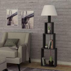 Unique Floor Lamp Bookshelf Limited Time Offer Grey Brown