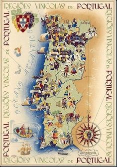 Buy online, view images and see past prices for Régions Vinicoles Portugal vers Invaluable is the world's largest marketplace for art, antiques, and collectibles. Vintage Travel Posters, Vintage Ads, Vintage World Maps, Portugal Travel, Spain And Portugal, Wein Poster, Azores, Map Art, Illustration