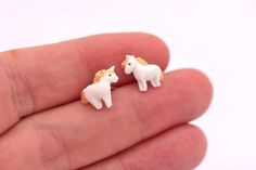 Studs Unicorn (Fimo Polymer Clay) Earrings Handmade