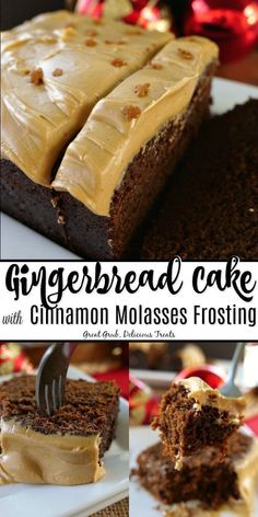Gingerbread Cake with Cinnamon Molasses Frosting - Great Grub, Delicious Treats Gingerbread Cake with Cinnamon Molasses Frosting is a scrumptiously moist gingerbread cake recipe that tastes amazing with a delicious cinnamon molasses frosting. Holiday Baking, Christmas Baking, Christmas Parties, Christmas Treats, Thanksgiving Baking Ideas, Christmas Cookies, Italian Christmas, Christmas Recipes, Cupcakes