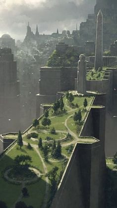 It's kind of a shame that our city planners spent $1.4 million renovating a 1,000 sq. ft. town hall instead of building a park like this... Digital Art Fantasy, Fantasy Concept Art, Game Concept Art, Arte Digital, Fantasy Artwork, Space Fantasy, Fantasy Town, Fantasy Castle, High Fantasy