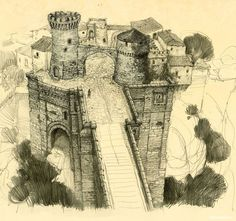 Drawing of a Castled Village and Bridge