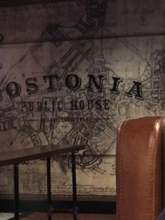 Sign on the back wall of the bar, Menu Cover, #Bostonia Public House, Boston Mass