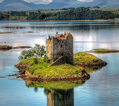 Castle Stalker, on a tidal islet on Loch Laich, an inlet off Loch Linnhe, Scotland