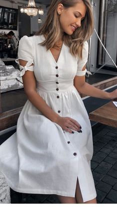 Popular Spring and Summer Outfit Ideas You will Love - - White V Neck Front Button Knot Sleeve Midi Dress Source by theglamourlady Simple Dresses, Elegant Dresses, Cute Dresses, Casual Dresses, Modest Dresses, Midi Dress With Sleeves, Dress Skirt, Dress Up, White Midi Dress
