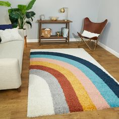 Amelia Rainbow Print Shag Area Rug x - White), Blue Unique Rugs, Modern Rugs, Contemporary Rugs, Kids Area Rugs, Kids Room Rugs, Baby Room Rugs, Kids Rooms, Rainbow Print, Rainbow Theme