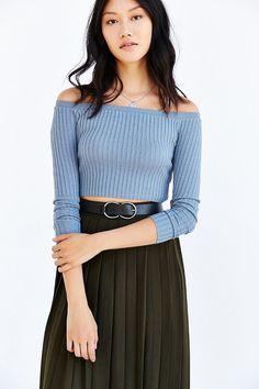 Kimchi Blue Ribbed Off-The-Shoulder Top