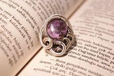 purple jasper ring wire jasper ring adjustable ring by BeyhanAkman, $21.00