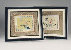 Vintage Chinese Embroidery Silk Panels framed in by VintagebyViola, $100.00