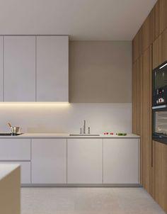 Apartment Interior, Kitchen Interior, Interior Design Living Room, Minimalist Kitchen, Minimalist Interior, Kitchen Decor Themes, Home Decor, Cocinas Kitchen, Küchen Design