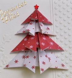 Sapin en origami de Miss Majorelle (http://aujardindemissmajorelle.over-blog.com/article-188-carterie-artisanale-de-majorelle-sapin-origami-120658572.html) - tutoriel