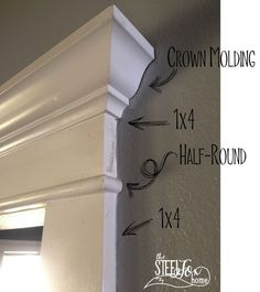 How to install DIY cased openings and custom window and doorway trim work. Moldings And Trim, Crown Molding, Moulding, Door Molding, Home Improvement Projects, Home Projects, Farmhouse Trim, Fox Home, Home Remodeling Diy