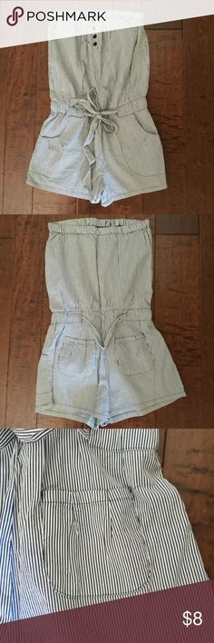 Seersucker romper Seersucker romper with tie at waist, pockets,  and buttons in front Mossimo Supply Co Pants Jumpsuits & Rompers