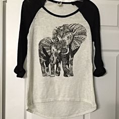 """Adorable """"Elephant Love"""" varsity top! Hi lo space dyed rounded hem top! So cute! Tops"""