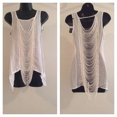 White Tank Style Shredded Top White Tank Style Shredded Front & Back Top Tops Tank Tops