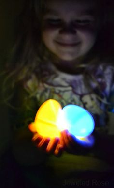 Two easy ways to set up a glow in the dark egg hunt for kids. SO FUN!