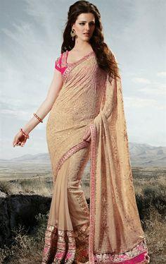 Picture of Gorgeous Beige Color Geogette Designer Sarees Online